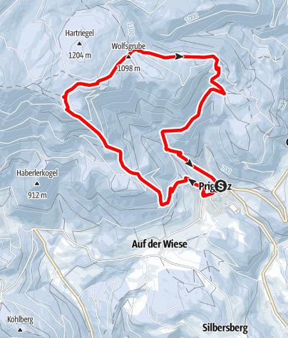 Térkép / Schneeschuhwandern: Prigglitz-Gahnshauswiese-Rote Wand