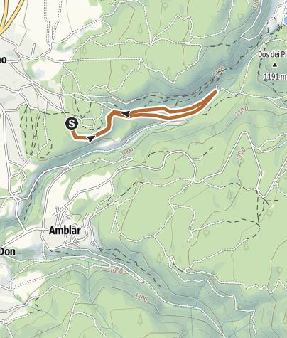 """Cartina / Il canto del Linor - Percorso Azzurro Nordic Walking Park """"Alta Val di Non"""" Cavareno"""