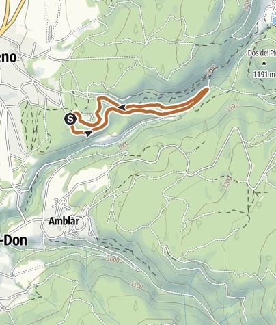 """Cartina / Sentiero del Brocon - Percorso Rosso Nordic Walking Park """"Alta Val di Non"""" - Cavareno"""