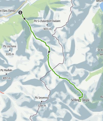 Karte / Durch die Uina-Schlucht bis nach Italien