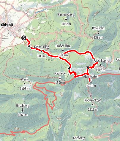 Karte / Bergtour - Heimgarten über die Käseralm