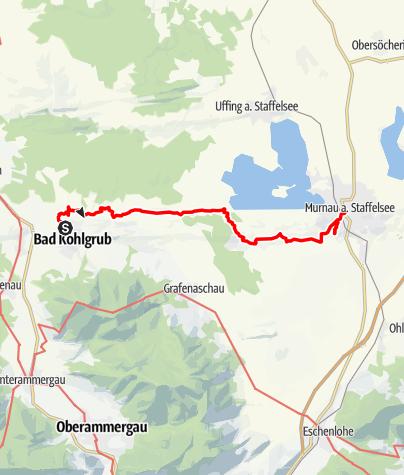Karte / Fernwanderweg - Meditationsweg, 1. Etappe (Bad Kohlgrub - Murnau)