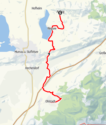 Karte / Fernwanderweg - Meditationsweg, 4. Etappe (Aidling - Ohlstadt)