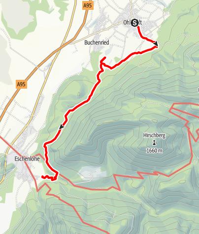 Karte / Fernwanderweg - Meditationsweg, 5. Etappe (Ohlstadt - Eschenlohe)