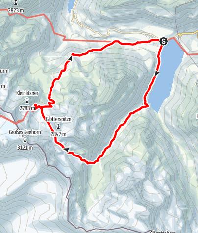 Karte / Über den Litznersattel zur Saarbrücker Hütte