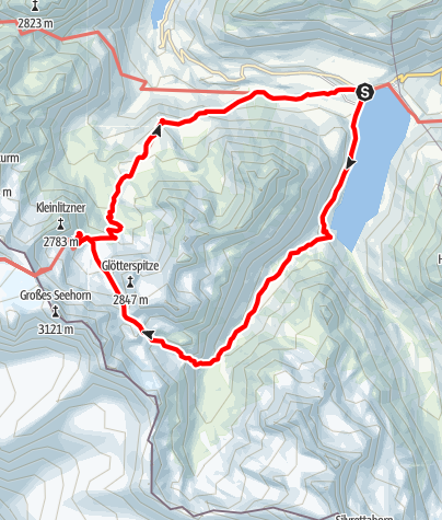 Kaart / Über den Litznersattel zur Saarbrücker Hütte