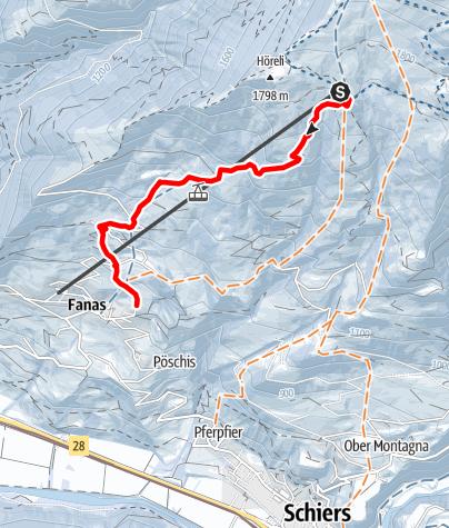 Karte / Schlittelweg Fanas