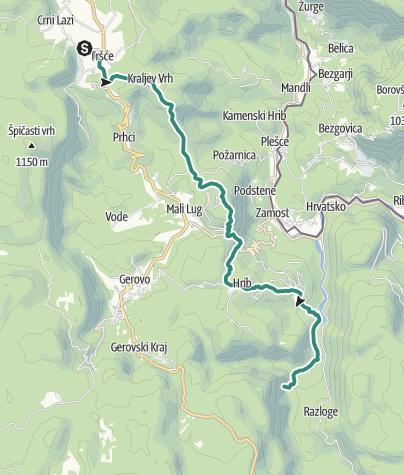 Mapa / Via Dinarica HR-W-02 Tršće - Sveta gora - izvor Kupe - Crni Lug