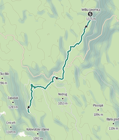 Map / Via Dinarica HR-W-07 Along Kapela Hiking Trail towards the Adriatic sea
