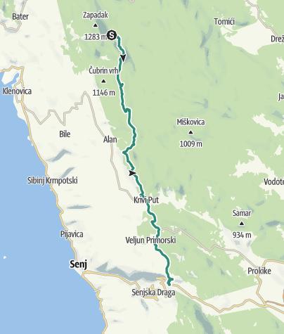 Mapa / Via Dinarica HR-W-08 Spojni put Kapela - Velebit