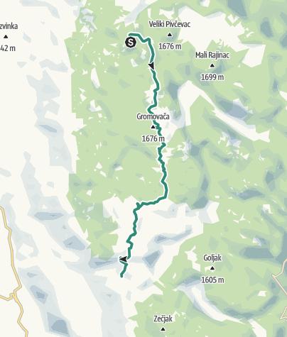 Map / Via Dinarica HR-W-11 Northern Velebit National Park (II) - Rožanski kukovi