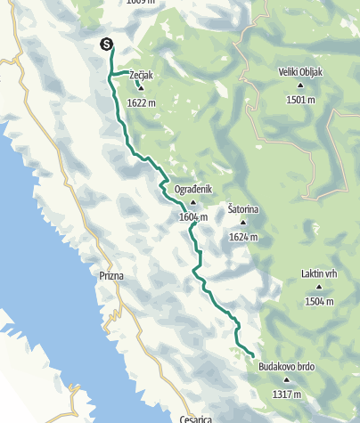 Map / Via Dinarica HR-W-12 From Alan to central Velebit