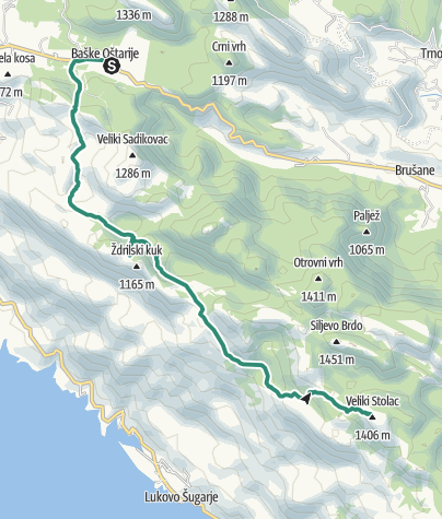 Mapa / Via Dinarica HR-W-14 Južni Velebit I - do Šugarske dulibe