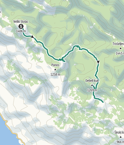 Map / Via Dinarica HR-W-15 Southern Velebit (II) – route to Stap