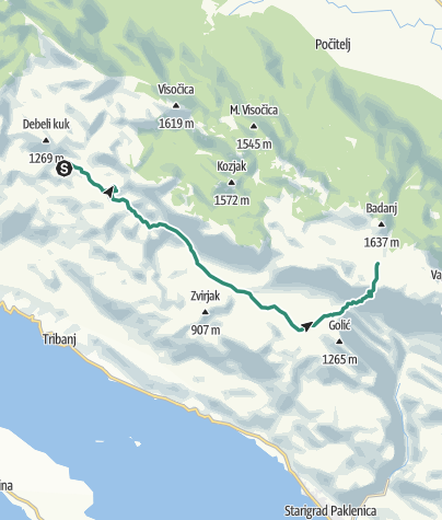 Map / Via Dinarica HR-W-16 Southern Velebit (III) – route to Struge