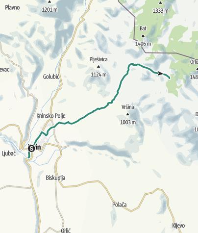Map / Via Dinarica HR-W-22 From Knin to Brezovac