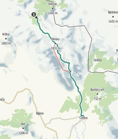 Map / Via Dinarica HR-W-23 Path across the peak of Dinara