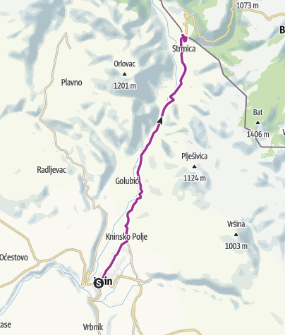 Map / Via Dinarica HR-W-24 Connection with the Livno route of Via Dinarica White Line