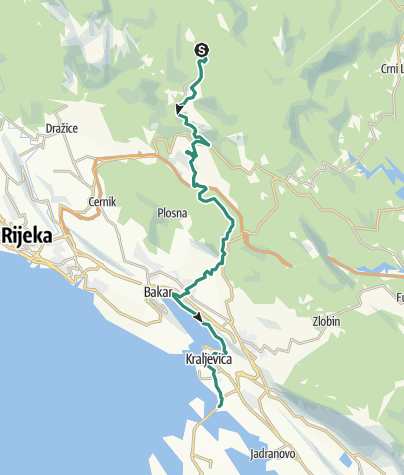 Map / Via Dinarica HR-B-05 Platak / hinterland of the city of Rijeka