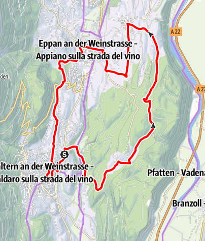 Map / Central Wine Route, Wine & bike: Pinot Blanc and Schiava