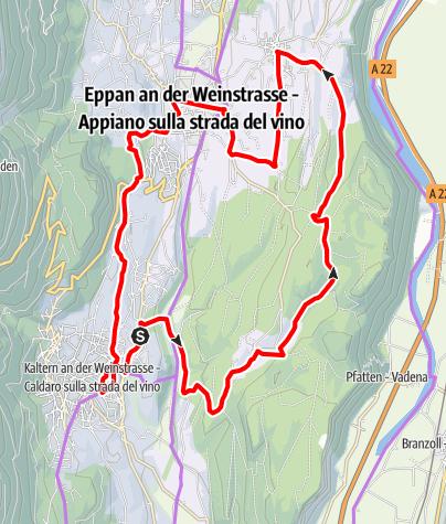 Mapa / Weinradroute Mitte, Wein & Rad: Weißburgunder und Kalterersee