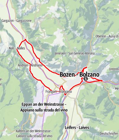 Karte / Weinradroute Nord, Wein & Rad: Lagrein und Sauvignon