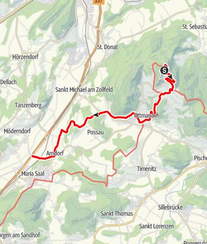 Karte /  Vierbergeweg Etappe 2 Magdalensberg - Maria Saal-Herzogstuhl