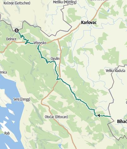 Map / Via Dinarica in Croatia - Green line - HR-G