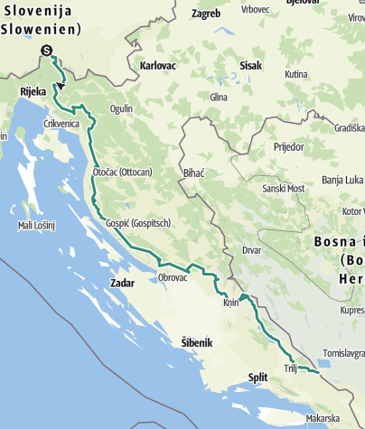 Map / Via Dinarica Trail in Croatia - White line - HR-W