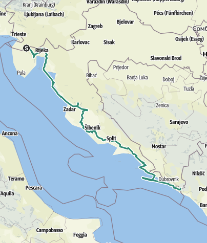 Map / Via Dinarica Trail u Hrvatskoj - Plava linija - HR-B