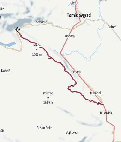 Map / Via Dinarica BH-W-02 via Grabovička planina to Bukovica and Duvanjsko polje