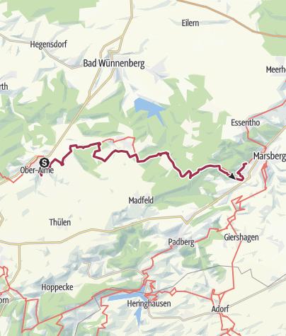 Karte / Waldrouten-Etappe Alme - Marsberg