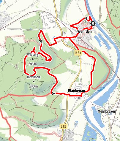 """Karte / Weserhöhen-Wanderung """"Zur Wildburg"""""""