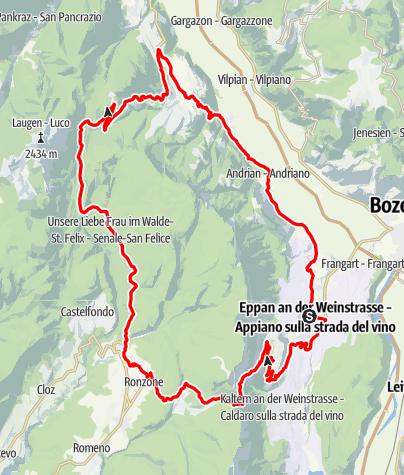 Map / Mendel and Gampen pass tour