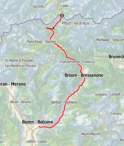 Karte / Brennerradroute Brenner-Bozen