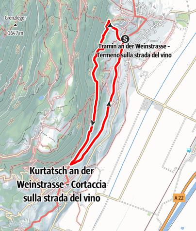 Karte / Wanderweg Kastelaz Tramin