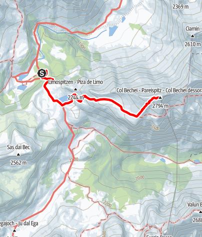 Karte / Bergwanderung: Fanes - Col Bechei