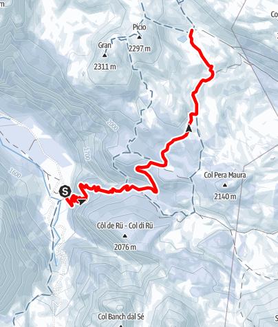 Carte / Winterwanderung: Pederü - Fodara Vedla - Senes