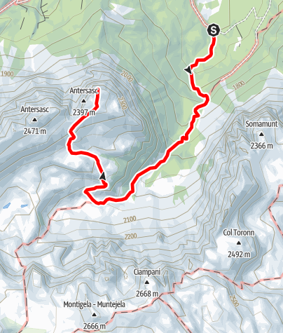 Karte / Lungiarü - Muntcörta - Antersasc - Crëp dales 12