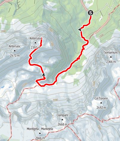 Mapa / Lungiarü - Muntcörta - Antersasc - Crëp dales 12