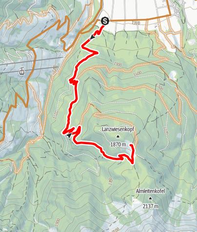 Map / Malga Lanzwiese-Climb / Lanzwiesen Alm-Climb