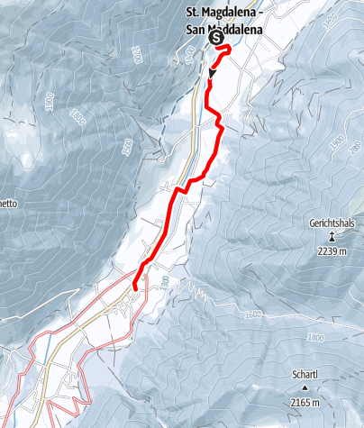 Map / Snowshoe tour: Along the Besinnungsweg (path of reflexion) in S. Maddalena/Gsieser Tal Valley