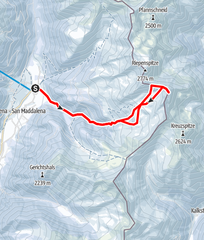 Map / Snowshoe Tour: Rotlahner in S. Maddalean/Gsieser Tal Valley
