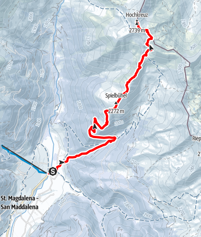 Map / Snowshoe Tour: Hochkreuzspitze in S. Maddalena/Gsieser Tal Valley