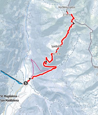 Mapa / Schneeschuhtour: Hochkreuzspitze in St. Magdalena/Gsieser Tal