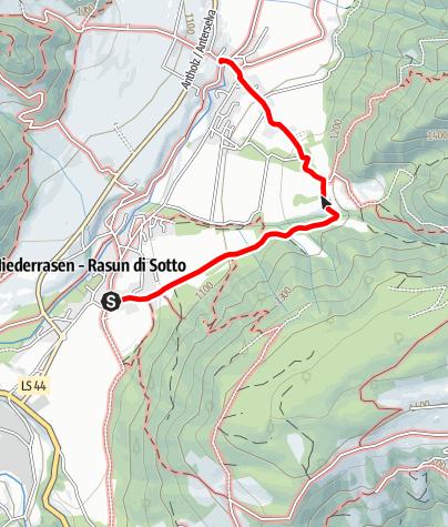 Karte / Wanderung: Niederrasen - Oberstall - Oberrasen