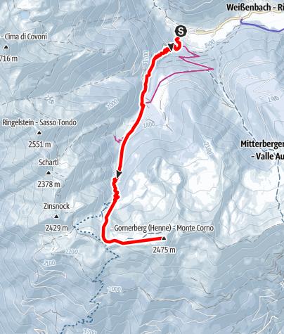 Mapa / Skitour zum Gornerberg (Henne) 2.475 m