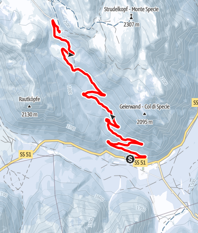 Cartina / Dobbiaco: Carbonin - Prato Piazza (sentiero sci alpinismo)