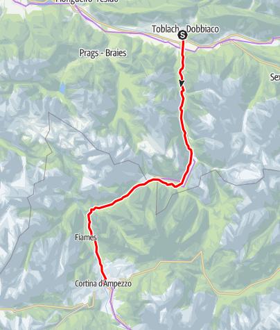 Map / Dolomites cycle path: Route Dobbiaco/Toblach - Cortina