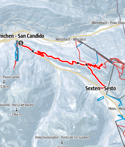 Map / Snowshoe hike: Cappella del bosco/Waldkapelle Chapel  - Baita del Cacciatore/Jägerhütte Mountain Hut - Sesto